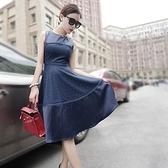洋裝-蕾絲都市OL休閒風修身顯瘦無袖連身裙2色72f12[巴黎精品]