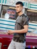 貝貝居 男士短袖T恤 印花體恤流圓領修身簡約衣服男SX1002