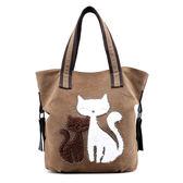 帆布手提包-可愛貓咪鏽花休閒女肩背包5色73wa18【時尚巴黎】