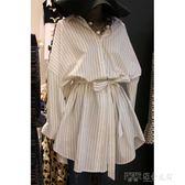 韓國東大門春秋條紋襯衫連身裙寬鬆收腰顯瘦襯衣裙子女短裙 探索先鋒