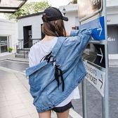 牛仔外套-翻領後背交叉綁帶時尚女丹寧夾克73tj19【時尚巴黎】