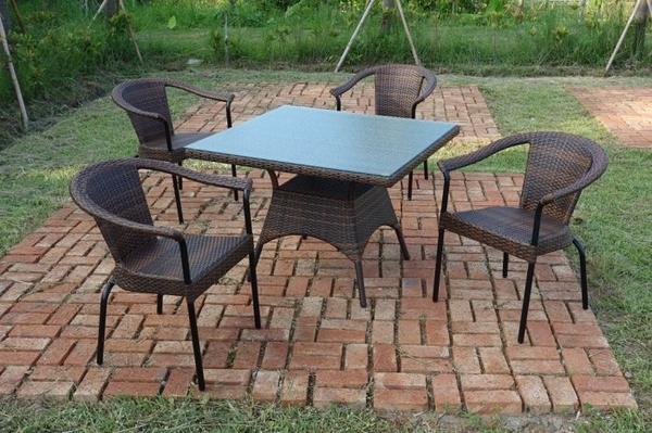 【南洋風休閒傢俱】戶外休閒桌椅系列-藤編休閒餐桌椅組 戶外餐桌椅組 HT-80 + HC-341