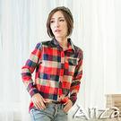 【AnZa】蘇格蘭格紋磨毛併皮長袖襯衫(三色)