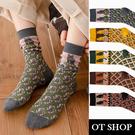 OT SHOP [現貨] 襪子 中筒襪 運動襪 女款 棉質 貓咪 日系文青 復古潮流 黑/深灰/墨綠/薑黃/咖啡 M1172