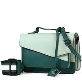 美國正品 botkier COBBLE 防刮皮革拚色手提/斜背二用風琴包-淺綠【現貨】