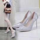 水晶婚鞋網紅法式少女高跟鞋女性感細跟婚紗伴娘尖頭亮片單鞋銀色  店慶降價