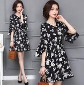 促銷價不退換碎花洋裝連身裙L-5XL中大尺碼32072女裝胖mm時尚氣質收腰碎花V領時尚短袖連衣裙