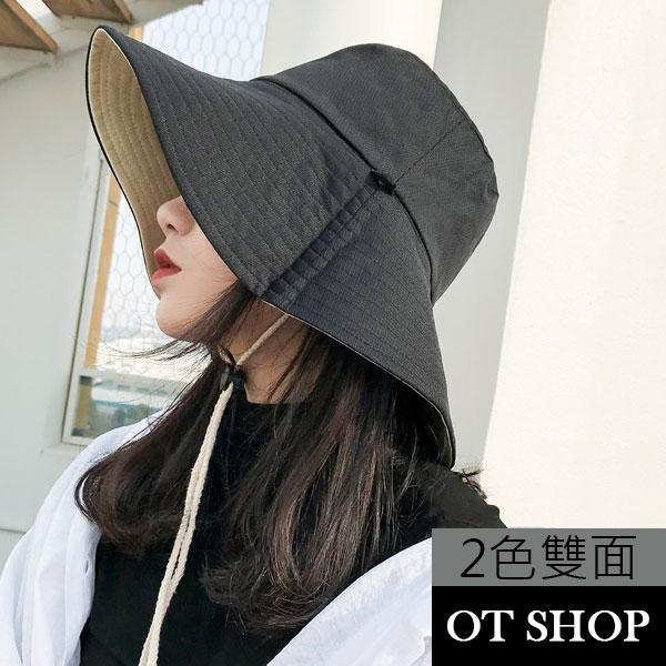 OT SHOP帽子 春夏棉質透氣網眼布漁夫帽 遮陽帽 防風抽繩 黑色+米色兩面配戴 穿搭配件 現貨 C2084