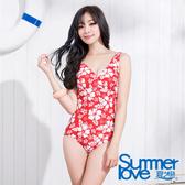 【夏之戀SUMMERLOVE】扶桑花連身三角泳衣-E11790