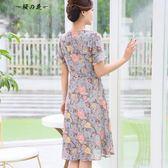 媽媽裝夏裝雪紡連身裙中長款40-50歲中年女裝大碼短袖裙子中老年【櫻花本鋪】