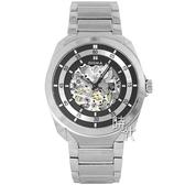 【台南 時代鐘錶 SIGMA】簡約時尚 藍寶石鏡面全鏤空機械錶 1333M-1 黑/銀 41mm