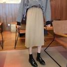 半身長裙裙子女秋新款高腰秋冬半身長裙超火的半身裙中長款百褶裙伊芙莎