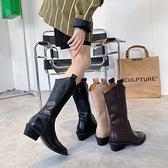 中筒靴子2021新款女冬季尖頭套筒粗跟百搭復古西部牛仔騎士靴子 3C數位百貨