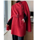 滿千免運~大碼女裝外套~系帶寬松中長款雙面羊毛呢子外套斗篷大衣MD043衣時尚