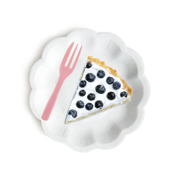 獨立包裝 小花蛋糕盤叉組 6叉子6盤子一包 紙盤 免洗盤 蛋糕紙盤 生日 外帶餐盤W002