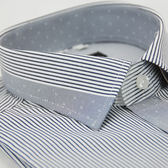 【金‧安德森】灰色變化領細紋窄版短袖襯衫