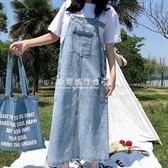 洋裝女韓版女裝口袋水洗寬鬆牛仔背帶裙休閒百搭A字長裙  『歐韓流行館』