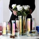 珠光貝母色玻璃花瓶擺件玻璃客廳透明插花鮮花玫瑰百合富貴竹花瓶 LJ5184【極致男人】