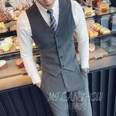 英倫風西裝馬甲 韓版個性時尚青年修身夾克套裝