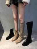 不過膝長靴女新款秋款粗跟網紅瘦瘦騎士長筒靴小個子高筒靴子 【快速出貨】