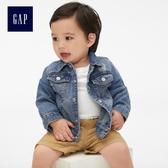 Gap男嬰兒 舒適純棉基本款長袖牛仔外套 418469-水洗靛藍色