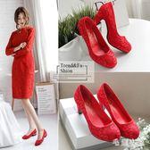 新娘鞋 新款婚鞋高跟紅色敬酒鞋結婚女鞋粗跟秀禾新娘鞋婚紗禮服鞋OB2240『毛菇小象』