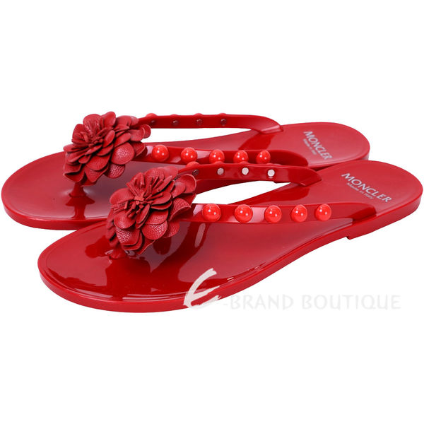 MONCLER NEW LYDIE 花朵鉚釘飾PVC夾腳拖鞋(紅色) 1620631-54
