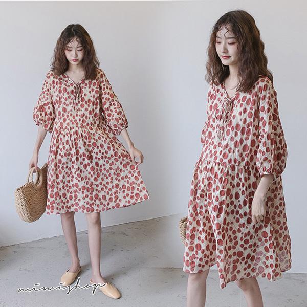 孕婦裝 MIMI別走【P521024】氣質美學 波點印花綁帶寬袖連身裙 孕婦裙 洋裝
