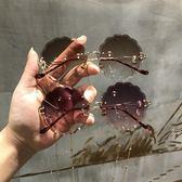 歐美切邊無框帶鏈子太陽鏡花朵圓形個性新款多邊形鏈條墨鏡女眼鏡