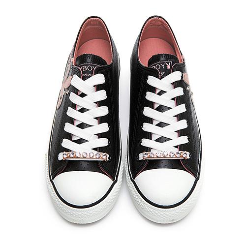 PLAYBOY 繽紛世界 可拆鞋帶釦休閒鞋-黑(Y5705)