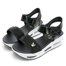 PLAYBOY夏日焦點 高雅水鑽氣墊涼鞋-黑(Y7277)