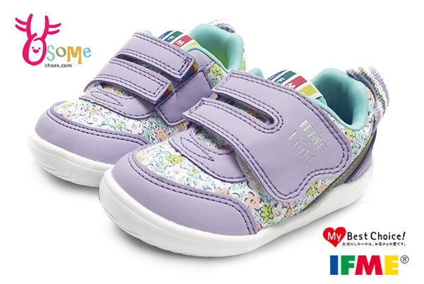 IFME寶寶運動鞋 繽紛小碎花 魔鬼氈 超輕量機能鞋N7612#紫色◆OSOME奧森童鞋