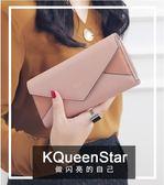 長皮夾女KQueenStar女士零錢包2018新款日韓大鈔夾磨砂信封錢包皮夾【新店開張好康搶購】