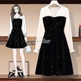 大碼金絲絨洋裝2010裝新款微胖妹妹遮肚子收腰顯瘦洋氣桔梗裙 SUPER SALE 快速出貨