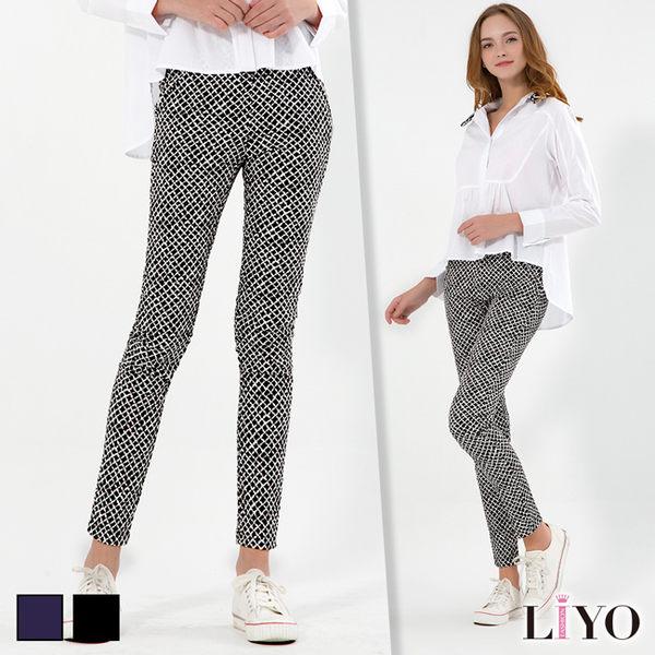 LIYO理優韓風斜格紋印花彈力顯瘦鉛筆褲511005