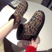 短筒雪地靴女一腳蹬冬新款百搭學生可愛加絨厚底面包棉鞋 千千女鞋