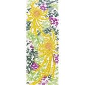 【日本製】【和布華】 日本製 注染拭手巾 黃紫色系 和風長瓣菊花圖案 SD-4991 - 和布華