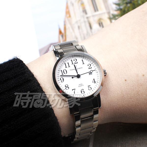 valentino coupeau 范倫鐵諾 都會愛情 不鏽鋼 數字 白色 日期顯示 防水手錶 女錶 61605白數字小