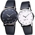 agnes b. 超薄數字皮帶錶 黑框黑面白數字 33mm BG4002P1 7N00-0BC0D 公司貨 | 名人鐘錶高雄門市