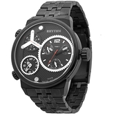 RHYTHM日本麗聲 三地時區石英手錶-黑/48mm SI1610S02