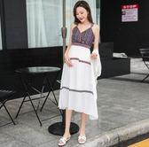 孕婦夏裝裙子套裝時尚款新款開衫吊帶連身裙兩件套中長款長裙
