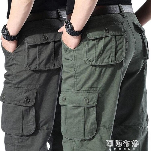 速乾褲 正品純棉大碼工裝褲加肥加大寬鬆長褲直筒高腰勞保褲工地干活褲子 阿薩布魯