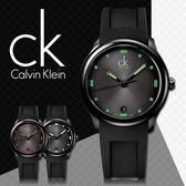 CK手錶專賣店 K2V214DX  黑面綠刻度 中性錶 石英 螢光指針刻度 膠質錶帶 礦物抗磨玻璃