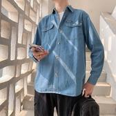牛仔襯衫男長袖秋季休閒潮牌打底襯衣韓版潮流百搭青年牛仔衫外套-ifashion