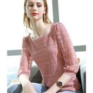 蕾絲內搭法式鏤空素色方領上衣(二色S-3XL可選)/設計家 AL301876
