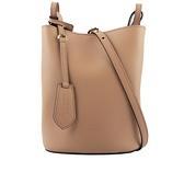 【BURBERRY】Haymarket內格紋皮革斜背水桶包(駝色) 40571511