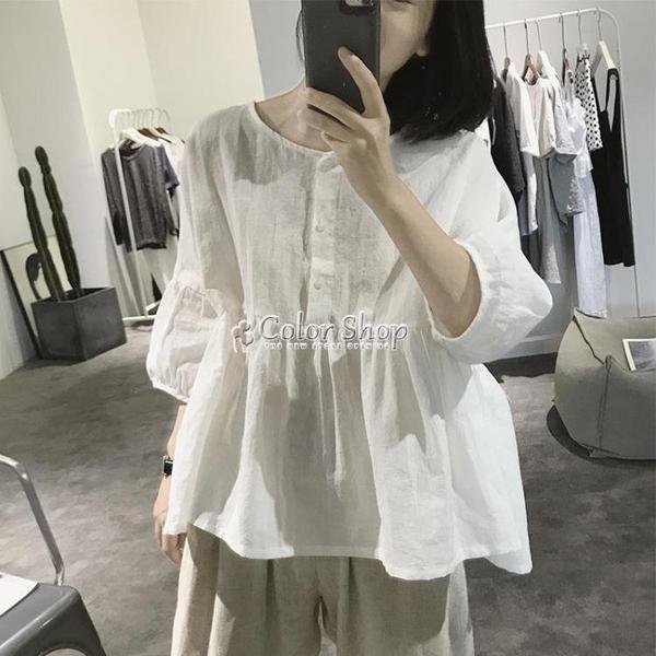 棉麻娃娃衫女夏季寬鬆大碼五分袖高腰減齡圓領套頭亞麻燈籠袖襯衫 快速出貨