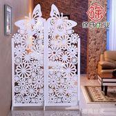 屏風隔斷玄關時尚客廳白色雕花折疊屏風店鋪櫥窗背景鏤空蝴蝶屏風MBS『潮流世家』