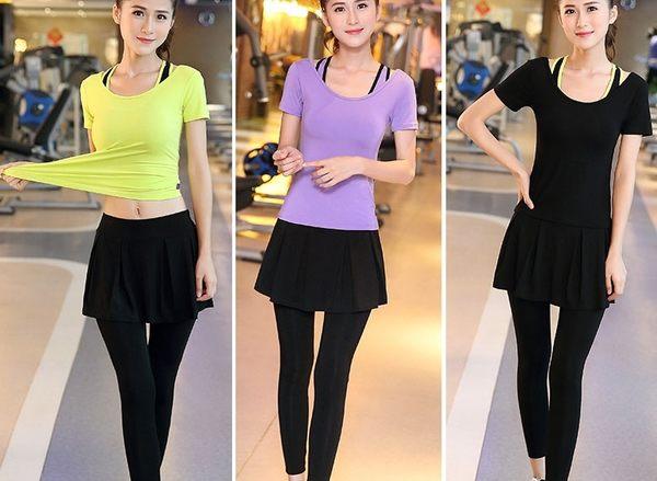 瑜伽服三件套健身服女套裝夏季顯瘦跑步短袖褲裙健身房運動服 - dixia0015