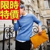長袖毛衣-美麗諾羊毛防寒正韓套頭男針織衫3色63t71[巴黎精品]